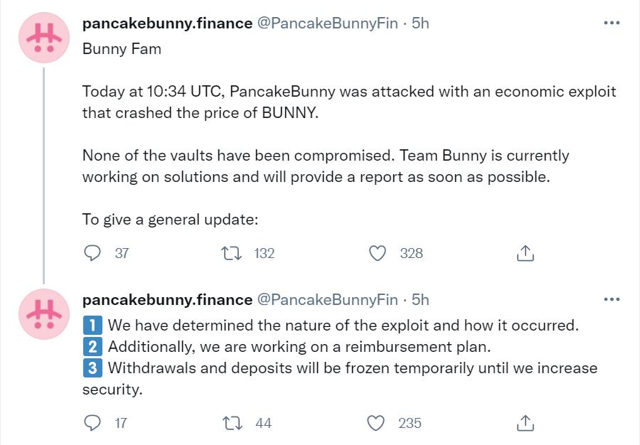 代币闪崩,差点归零: PancakeBunny 被黑简析